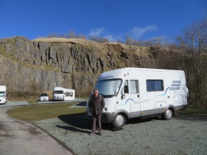 Bruce in old limestone Quarry converted into Caravan Club site in Buxton