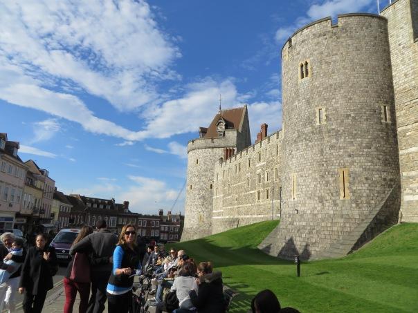Bev on her new bike at Windsor Castle