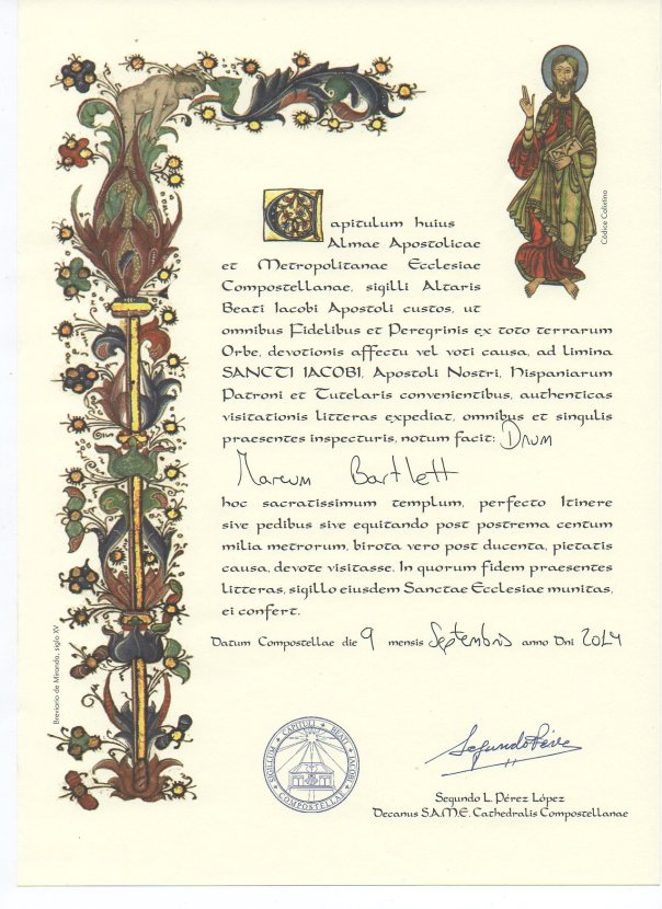 Certificate of Camino 2014