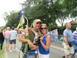 Found this Dutch-Australian walker and he was happy to see us cheering with our Aussie Flag @ of course a great photo opportunity!!